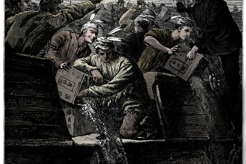 An illustration shows participants of the Boston Tea Party emptying tea into the ocean.