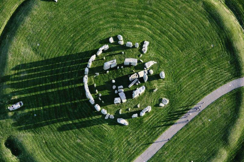 Stonehenge is viewed from above.