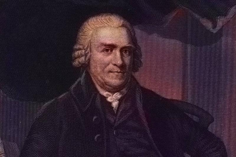 A portrait shows the founding father Samuel Adams.