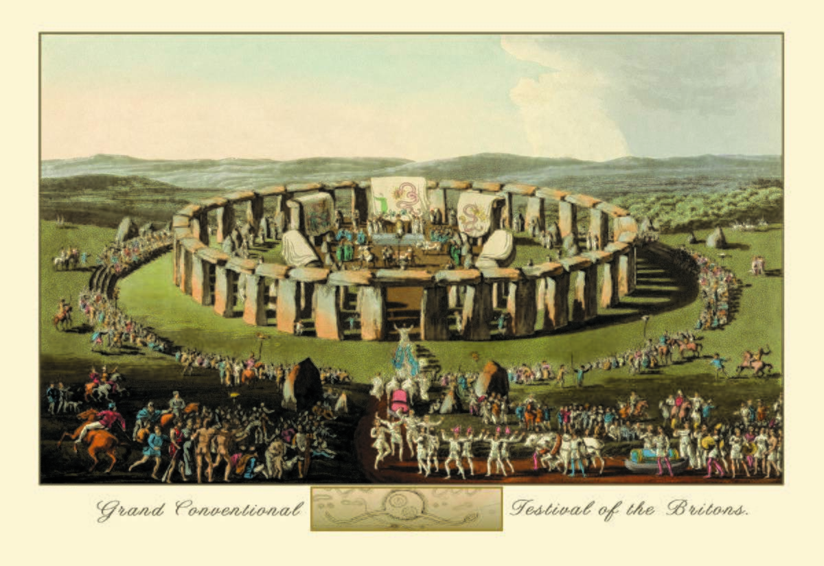 A drawing from 1815 depicts people at Stonehenge.