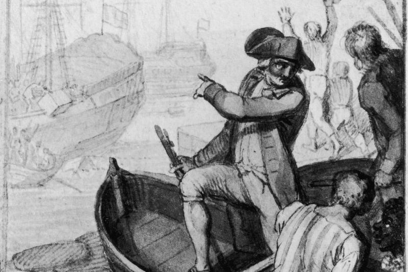 Colonists ride a rowboat in the Boston Harbor.