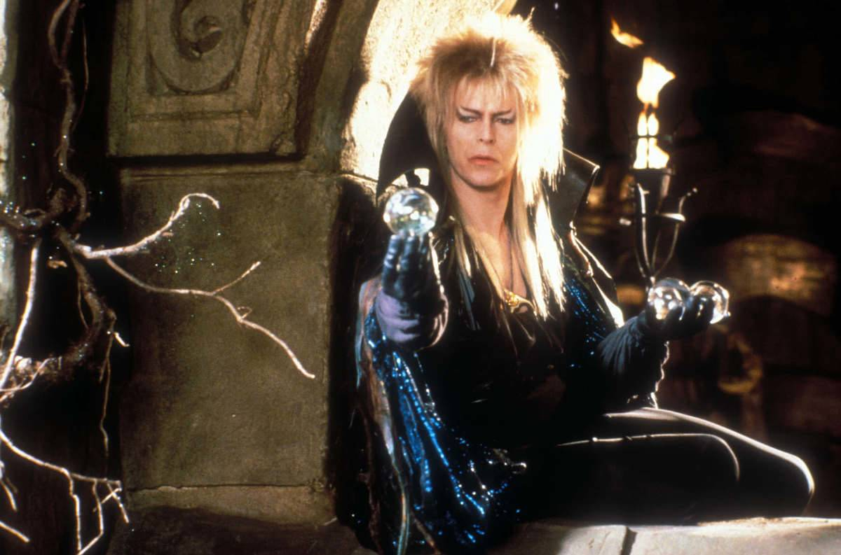 David Bowie poses as Jareth in Labyrinth.