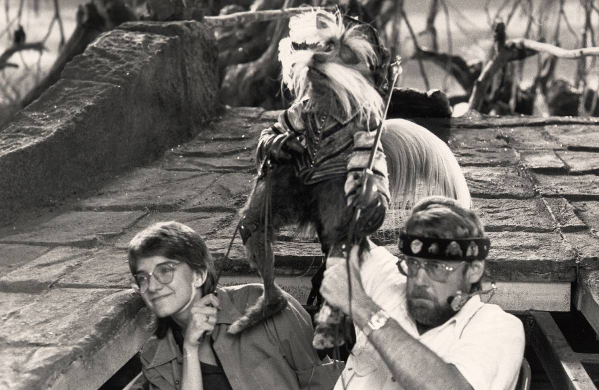 Two puppeteers operate Sir Didymus in Labyrinth.