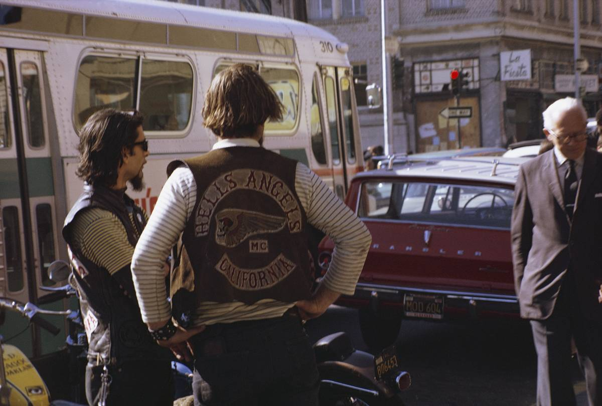 Hells Angels members stand on the Berkeley streets in 1969.