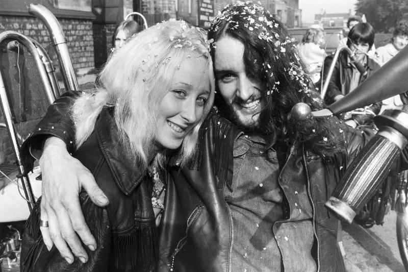 A 1971 photo shows a happy couple, a Hells Angel member and his wife, recently married.