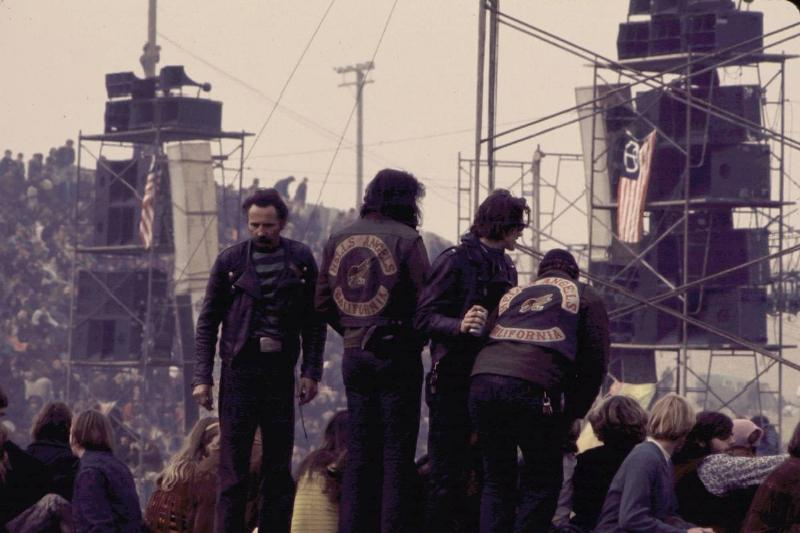 Hell's Angels act as concert security at a Rolling Stones concert at Altamont Speedway.