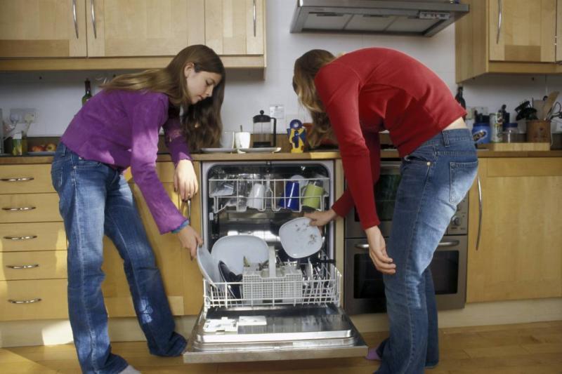 Two teenage girls load the dishwasher.