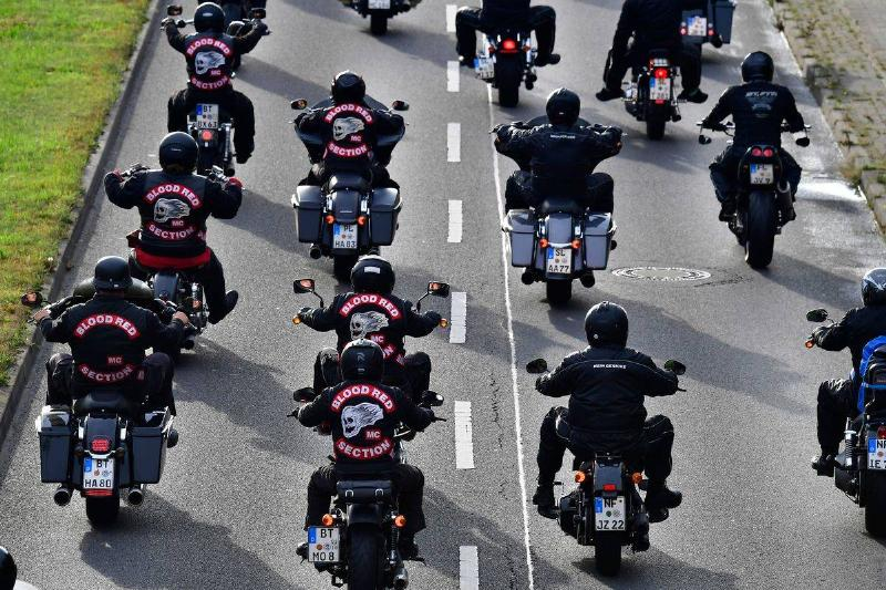 Hells Angels bikers drive in formation.