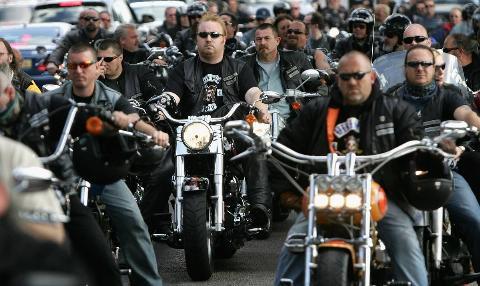 Hells Angels ride bikes together.