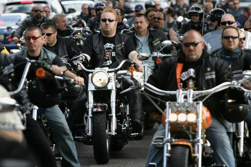 Hells Angels ride bikes together.