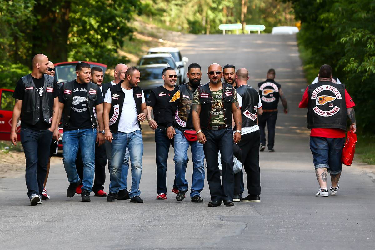 Polish members of Hells Angels walk together.