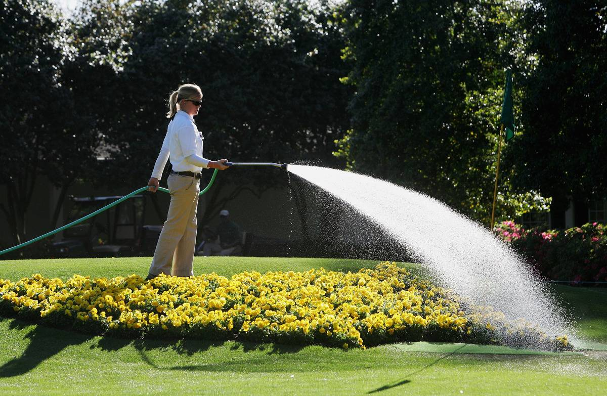 A woman waters her garden with a hose.