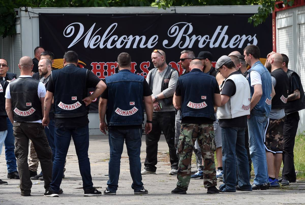 Members of the Hells Angels motorcycle club arrive for the Hells Angels' World Run.