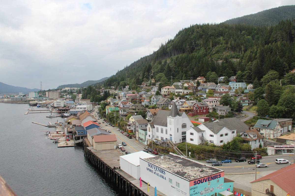 Ketchikan, Alaska, city view from bay.