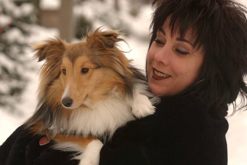 Dogwalker Ruth Borsuk and sheltie Skye