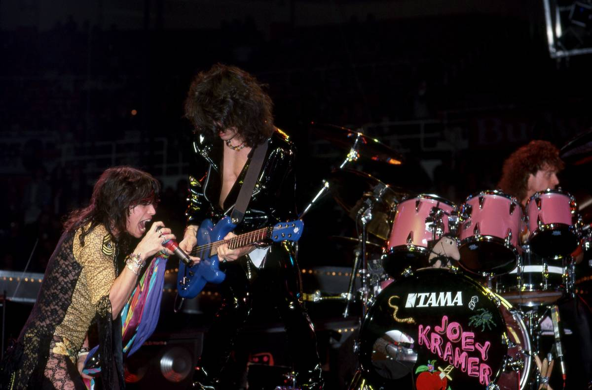 Aerosmith performs onstage in Detroit, 1987.