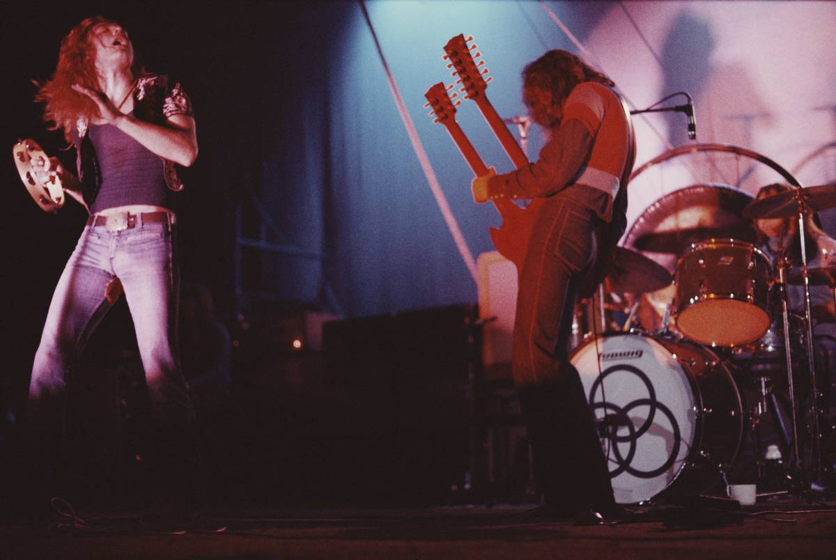 The band Led Zeppelin performs onstage in London, 1971.