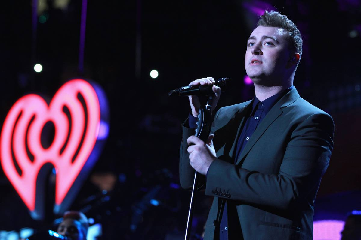 Sam Smith performs onstage at the Jingle Ball 2014.