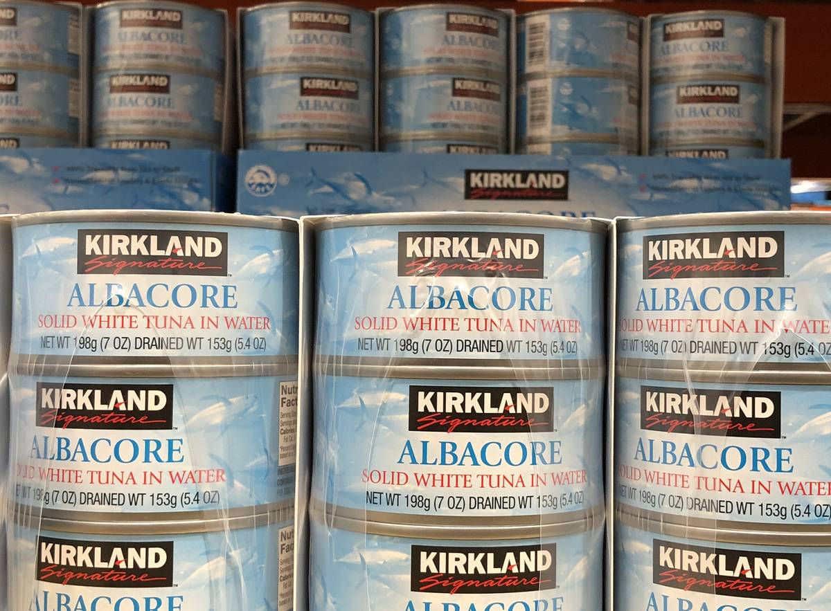 Kirkland albacore tuna cans are packaged and sold in Costco.