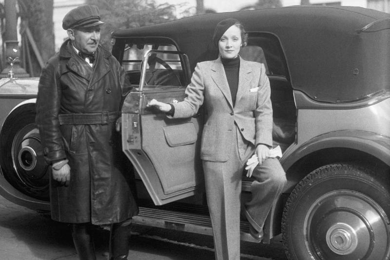 Marlene Dietrich with Chauffeur and Rolls-Royce