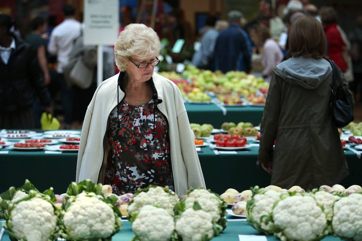 An older woman examines cauliflower for sale.