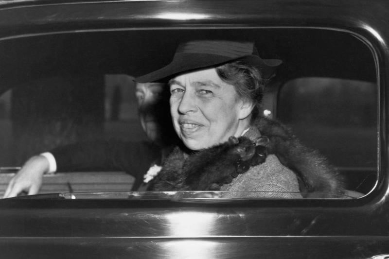 First Lady Eleanor Roosevelt in a Car