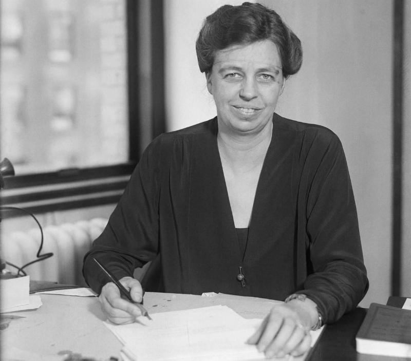 Eleanor Roosevelt writing.
