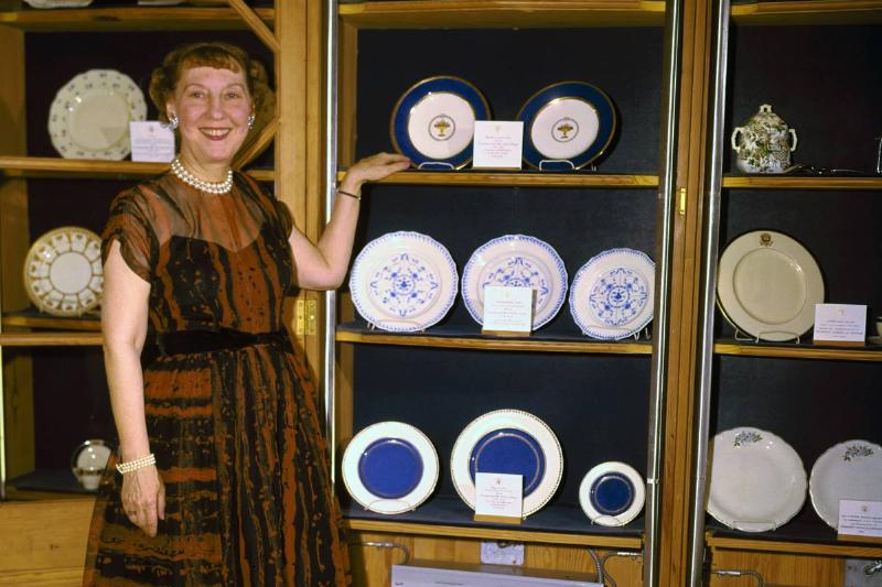 Mamie Eisenhower with Fine China in White House