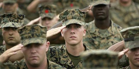 People saluting