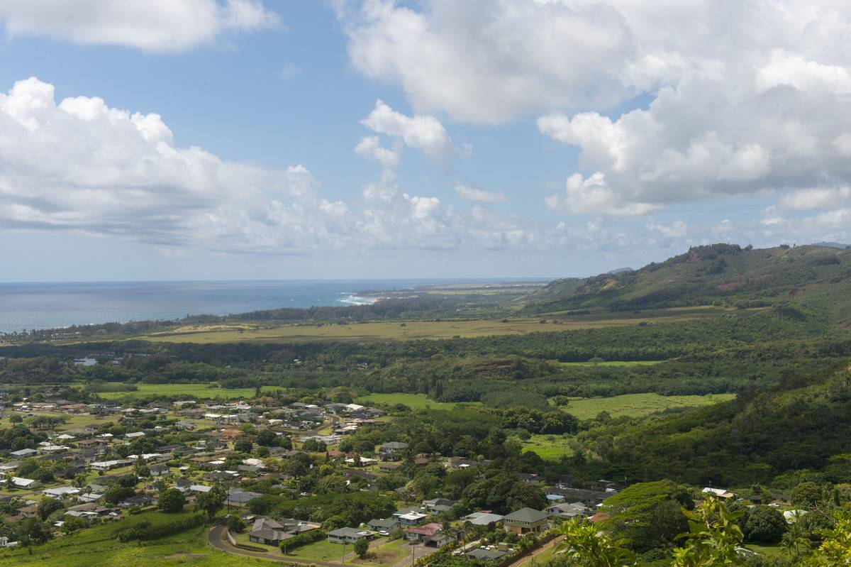 View of Kapaa from the Sleeping Giant hiking trail, also...