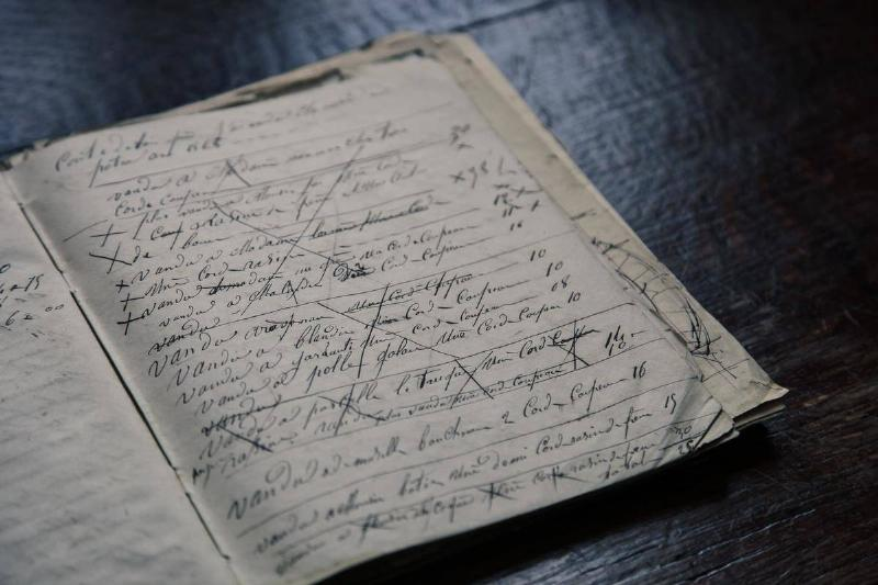 A notebook is filled with illegible handwriting and X's.