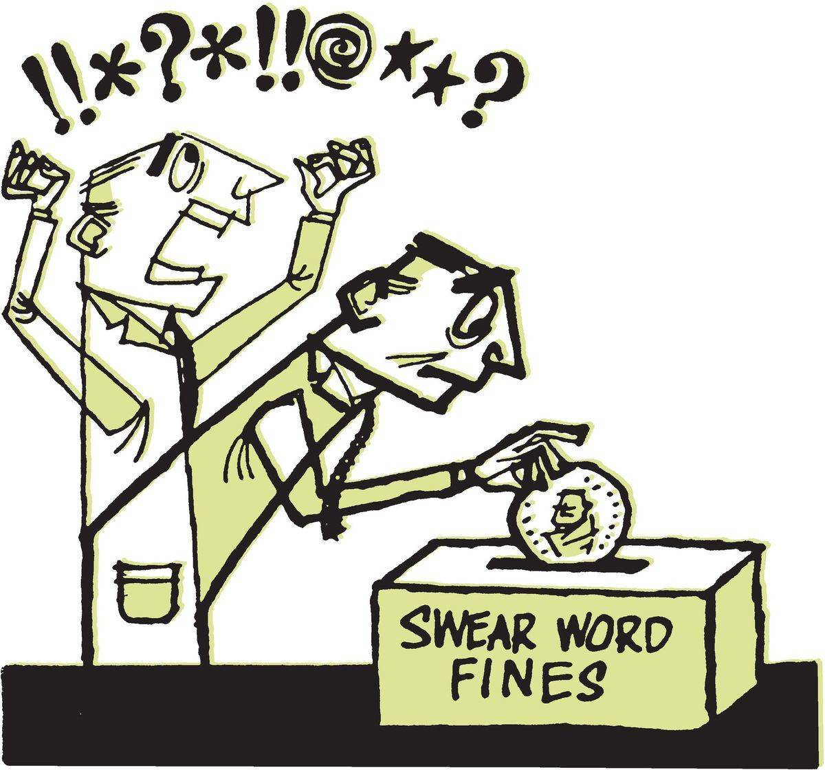 In this comic, a man swears (shown through symbols) and then puts a quarter in the