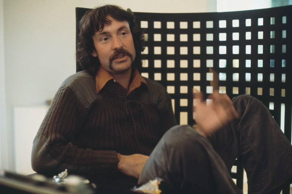 English drummer Nick Mason of rock group Pink Floyd being interviewed