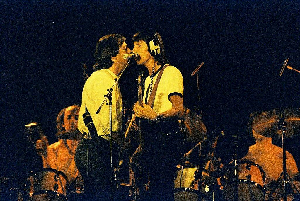 David Gilmour and Roger Waters of Pink Floyd perform on stage in 1980