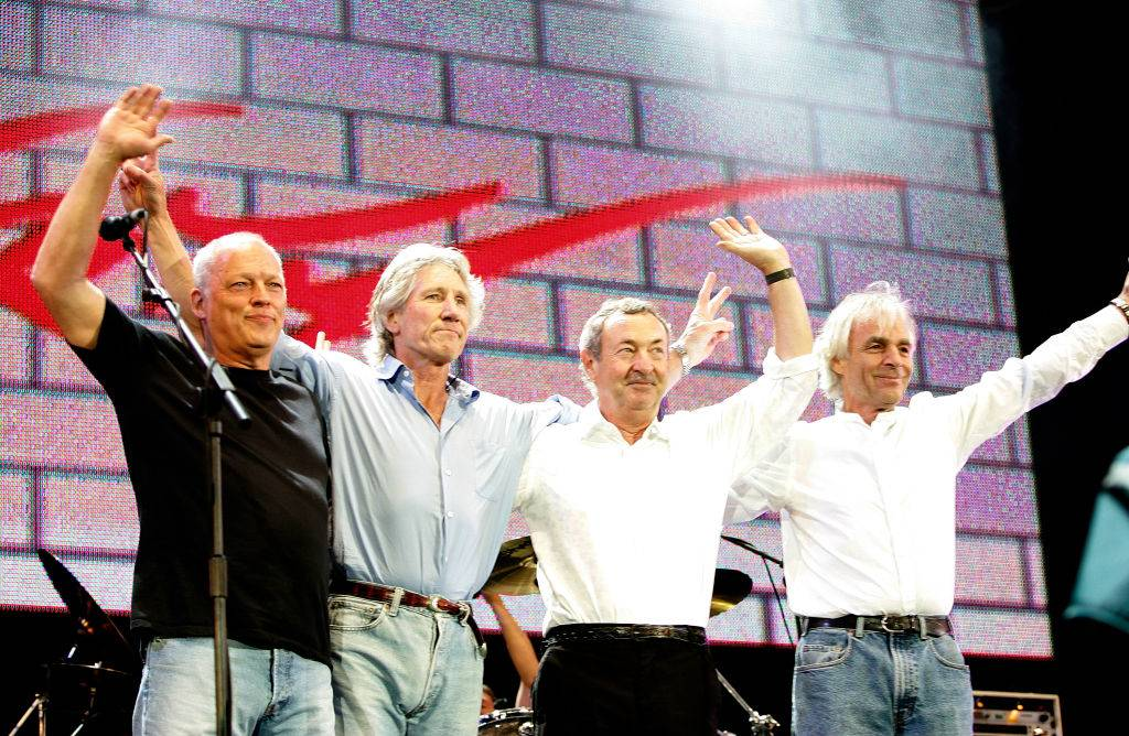 David Gilmour, Roger Waters, Nick Mason and Rick Wright from the band Pink Floyd on stage in 2005