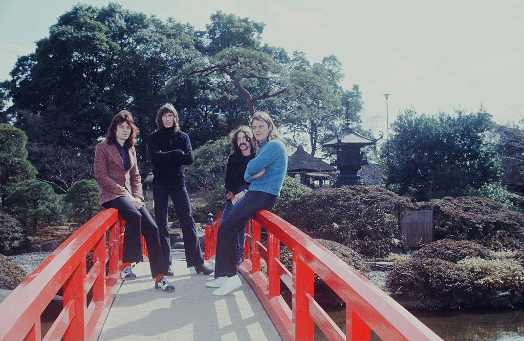 Pink Floyd at a photo session in the Japanese garden, Tokyo, March 1972