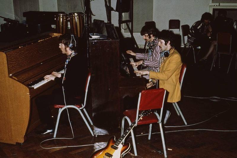 The Beatles play pianos at Abbey Road Studios, London, circa 1967