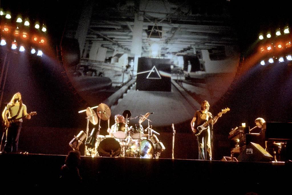 Pink Floyd performing live in 1975