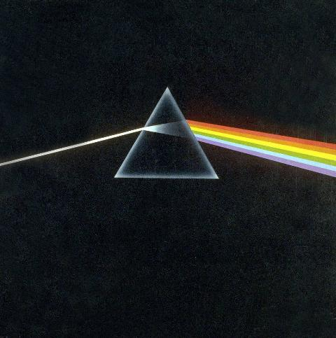 Album cover of Pink Floyd's Dark Side Of The Moon with a triangle and rainbow