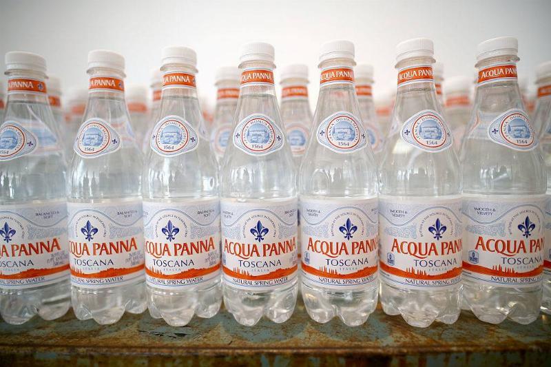 A display of Acqua Panna bottles