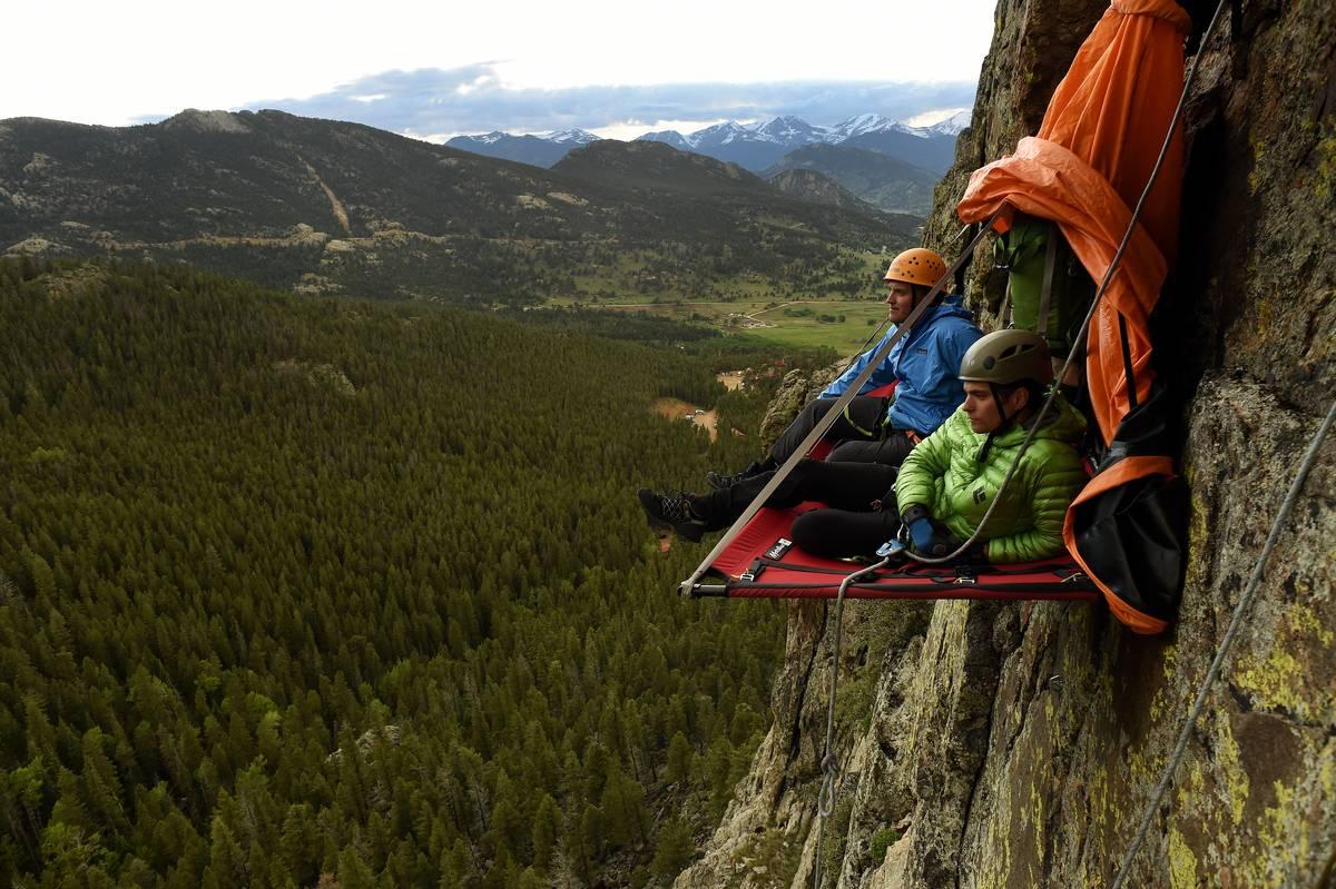 Cliff camping in Estes Park, Colorado.