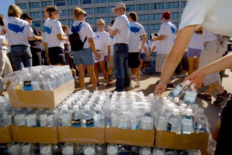 cases of ethos water bottles