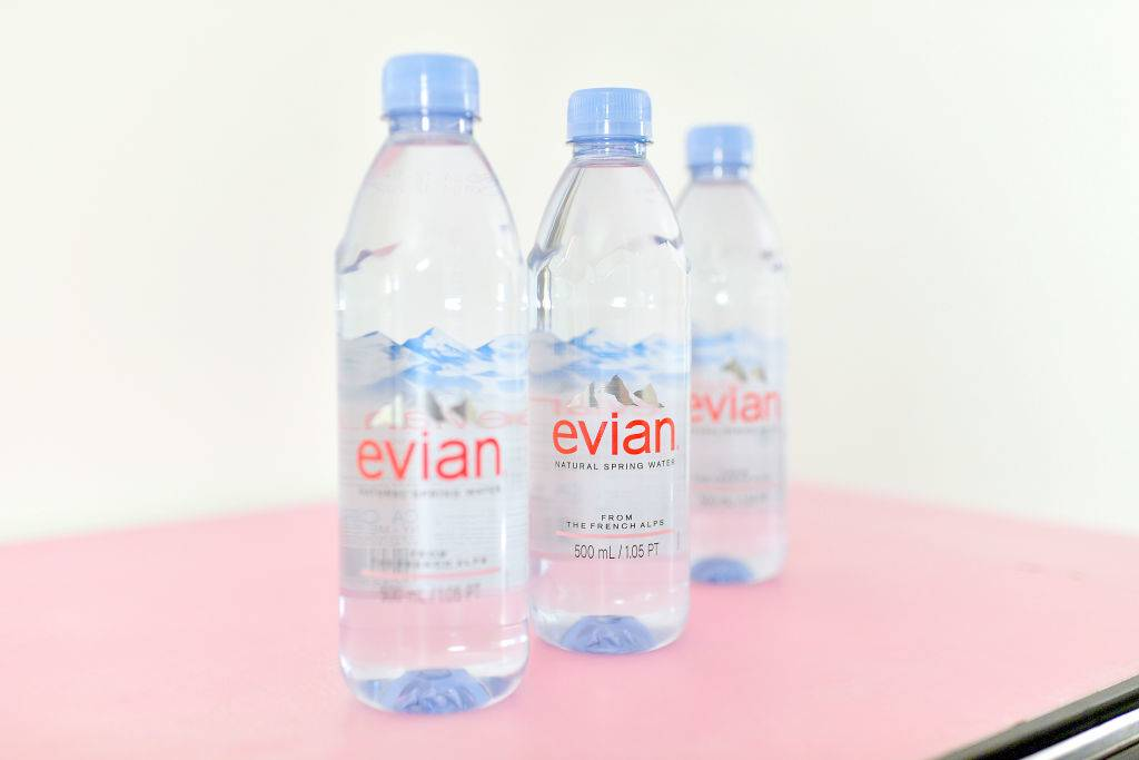 A view of Evian water bottles