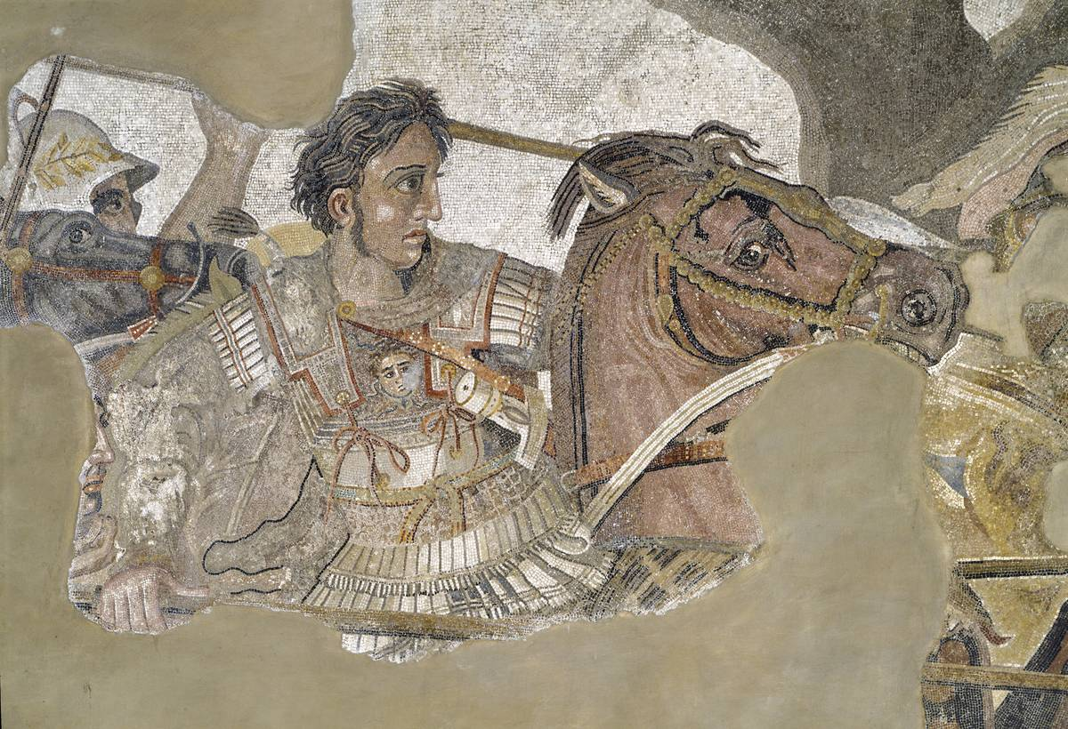 In this motif, Alexander the great rides his horse Bucephalus.