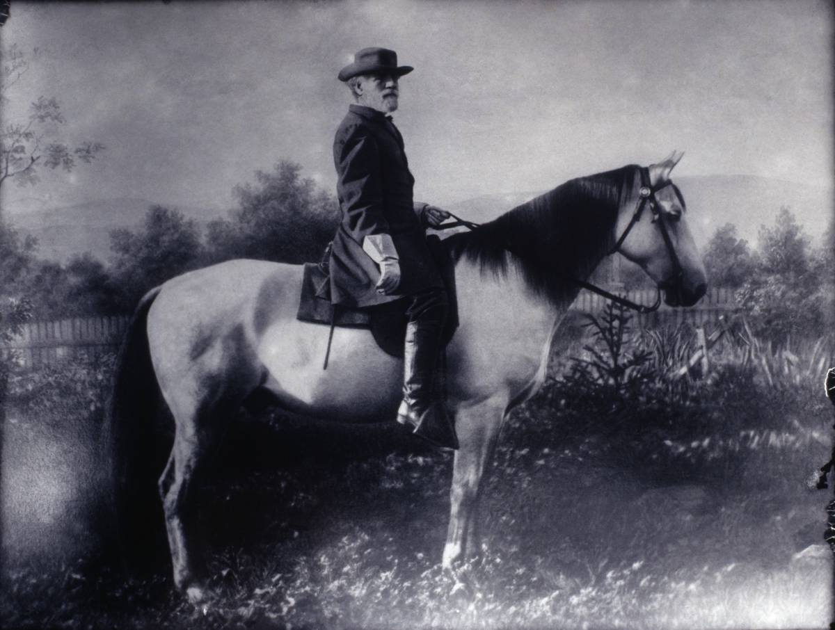In this 19th century photograph, General Robert E. Lee sits atop his horse, Traveler.