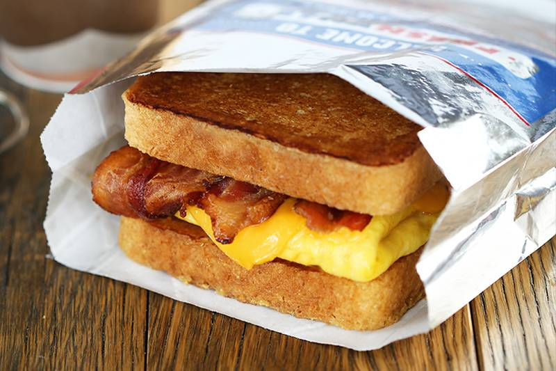 french toaster with egg, bacon, and cheese from sonic
